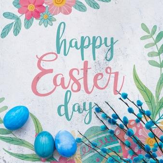 Wielkanocny mockup z błękitnymi jajkami