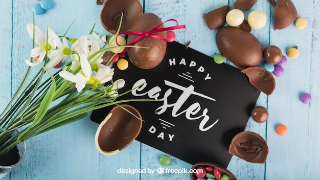 Wielkanocny mockup z choco jajkami