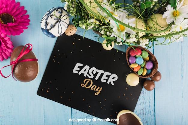 Wielkanocny mockup z czarną kopertą