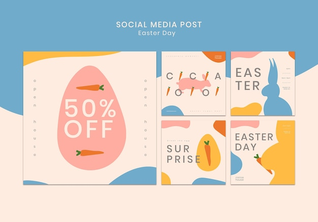 Wielkanocny szablon mediów społecznościowych