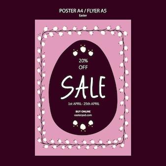 Wielkanocny szablon ulotki lub plakatu sprzedaży