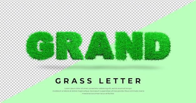 Wielki tekst listu z 3d trawą
