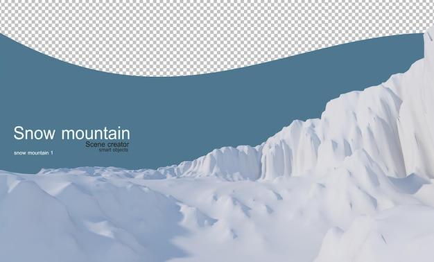 Wielopoziomowe wzgórza pokryte śniegiem na wszystkich wzgórzach