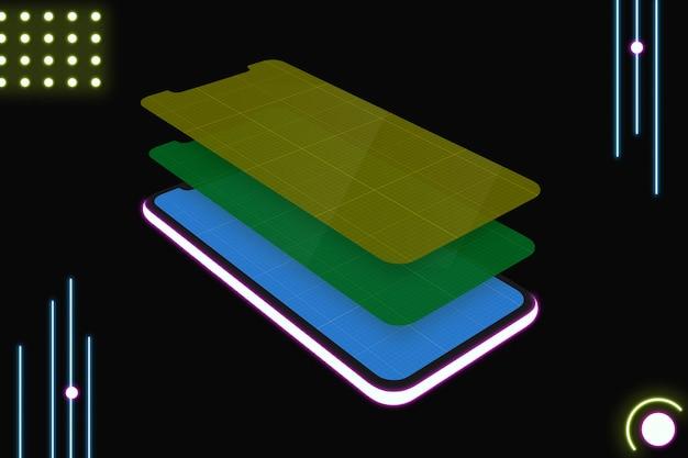 Wielowarstwowa makieta ekranu smartfona
