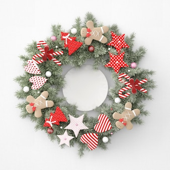 Wieniec bożonarodzeniowy z początkami, sercami i ginerbread