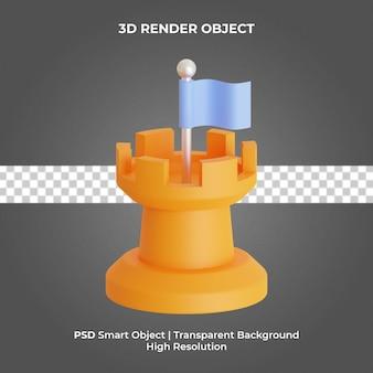 Wieża szachowa z flagą 3d render na białym tle premium psd