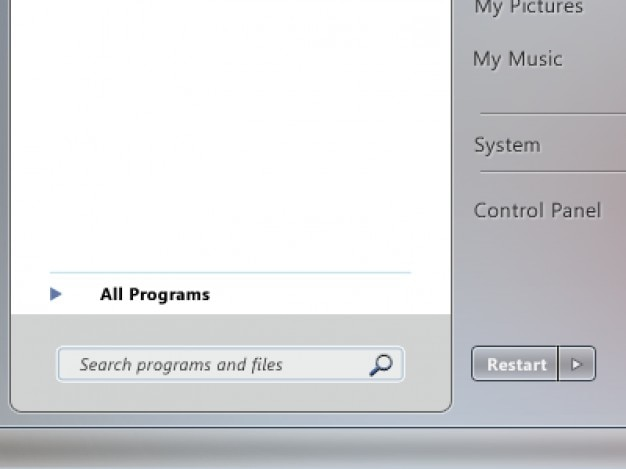 Windows 7 menu start z czarnego szkła