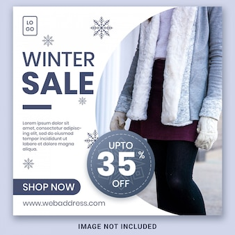 Winter sale banner social media post