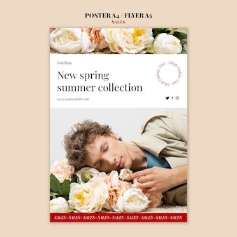 Wiosna lato kolekcja mody plakat i szablon projektu ulotki