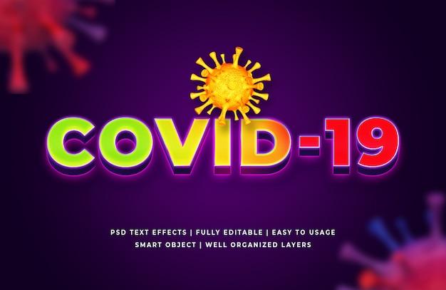 Wirus corona efekt stylu tekstu 3d