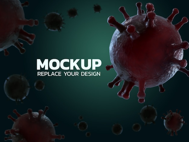 Wirus corona makieta projekt renderowania 3d