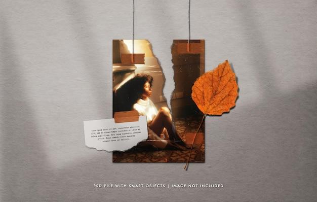 Wisząca podarta makieta ze zdjęciem plakatu z przyklejonym liściem i papierową notatką