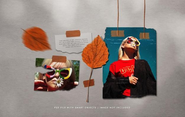 Wiszące podarte zdjęcia plakatowe makieta z przyklejonym liściem i papierową notatką