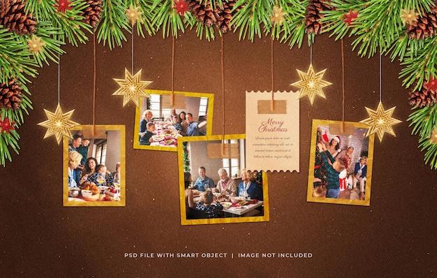 Wiszące życzenia świąteczne zdjęcie papierowe ramki filmowe makieta