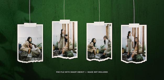 Wiszący portret rozdarty makieta ramki do zdjęć
