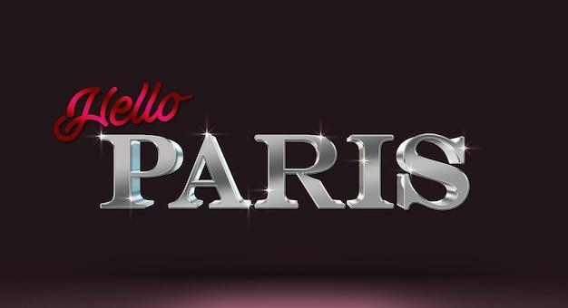Witaj paryżu szablon makiety efektu stylu tekstu 3d