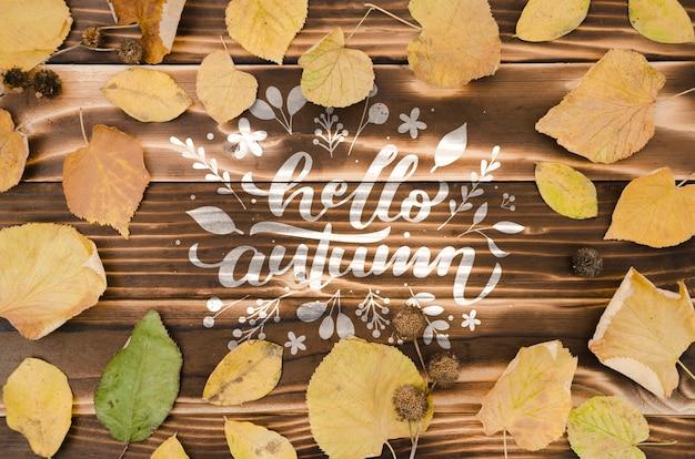 Witam jesień koncepcja otoczona suchymi liśćmi