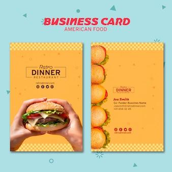 Wizytówka amerykańska koncepcja żywności