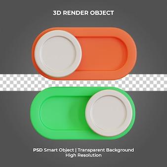 Włącz przycisk wyłączania renderowania 3d na białym tle premium psd