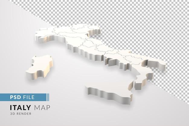 Włochy mapować renderowania 3d odizolowane z włoskimi regionami