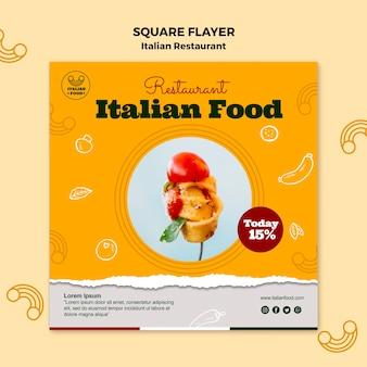 Włoska restauracja kwadratowa ulotka z rabatem