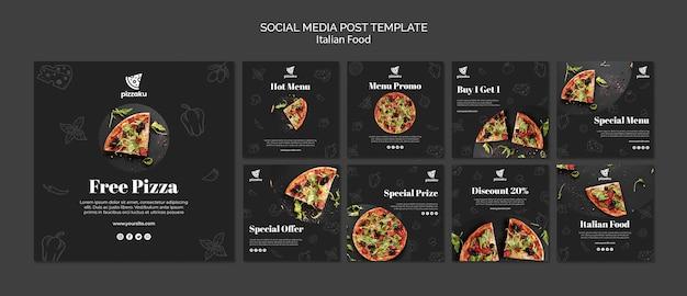 Włoskie jedzenie mediów społecznościowych szablon postu