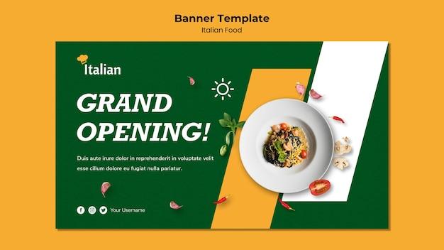 Włoskie jedzenie transparent szablon projektu
