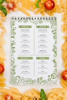 Włoskie menu i makaron leżały na płasko