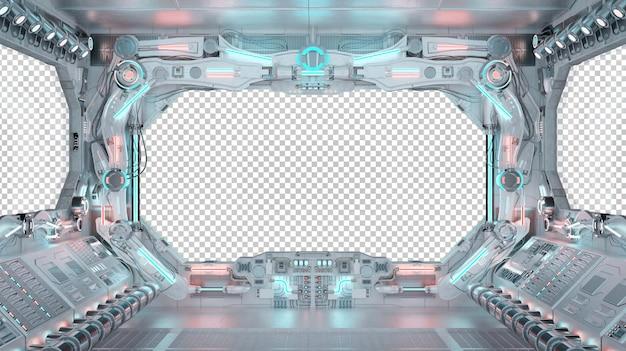 Wnętrze kokpitu statku kosmicznego z izolowanym oknem
