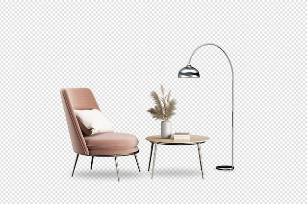 Wnętrze ma fotel i lampę w renderowaniu 3d