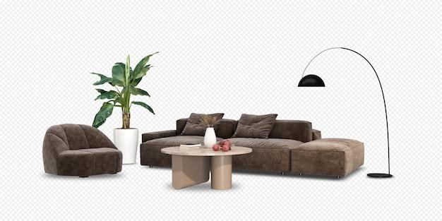 Wnętrze ma sofę i roślinę w renderowaniu 3d