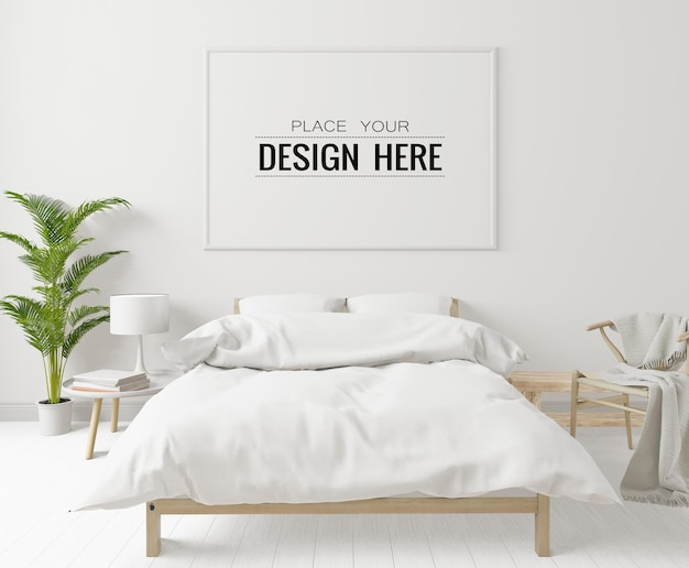 Wnętrze makiety ramki plakatowej w sypialni
