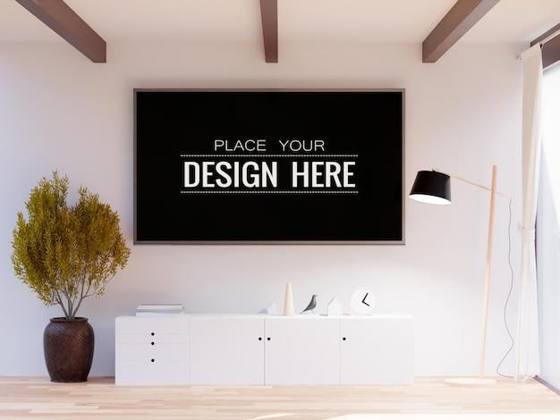 Wnętrze makiety tv frame w salonie