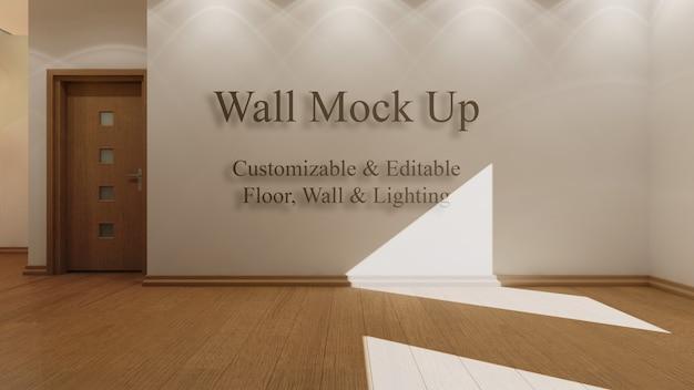Wnętrze makiety z edytowalnym światłem słonecznym, podłogą i ścianami