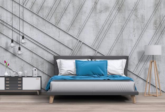 Wnętrze nowoczesna sypialnia z dekoracjami