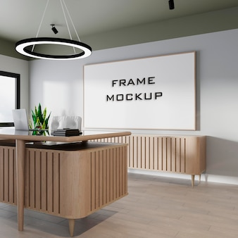 Wnętrze nowoczesne biuro makieta ramy premium psd