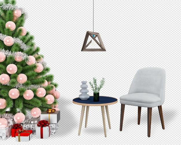Wnętrze nowoczesnego salonu ma choinkę i fotel renderowania 3d