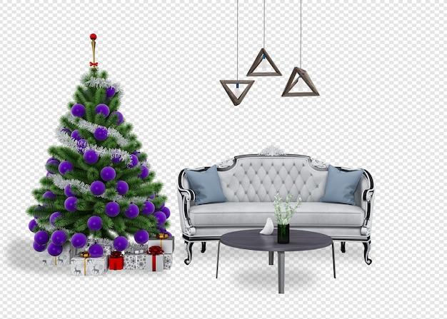 Wnętrze nowoczesnego salonu ma choinkę i sofę renderowania 3d