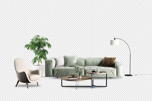 Wnętrze nowoczesnego salonu w renderowaniu 3d