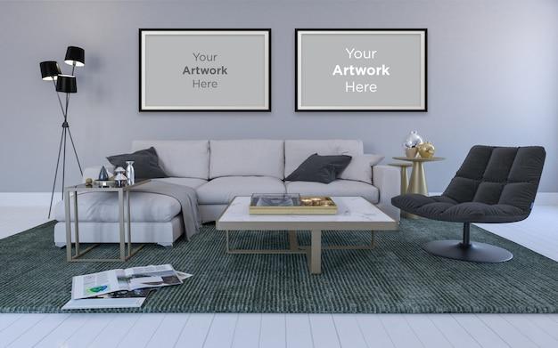 Wnętrze nowoczesnego salonu z lampami sofy pusta ramka na zdjęcia makieta