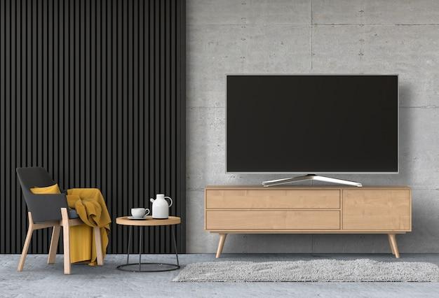Wnętrze nowoczesnego salonu z smart tv, szafką i fotelem.