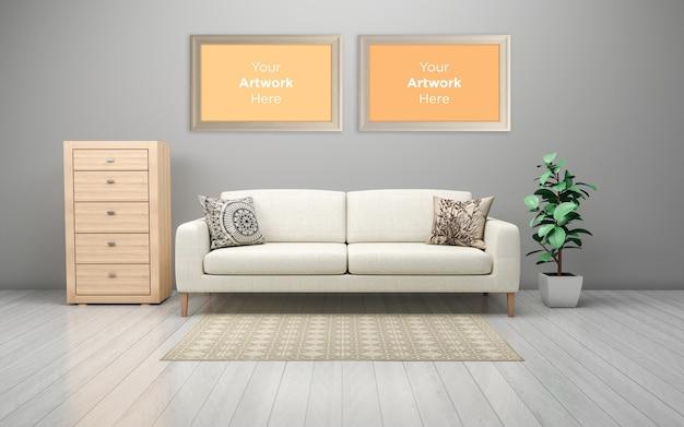 Wnętrze nowoczesnej sofy do salonu z szufladami i pustą ramką na zdjęcia makieta