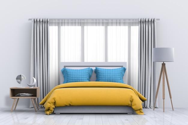 Wnętrze nowoczesnej sypialni z dekoracjami