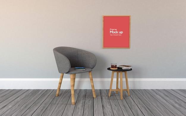 Wnętrze nowoczesny salon z krzesłem i ramą makieta