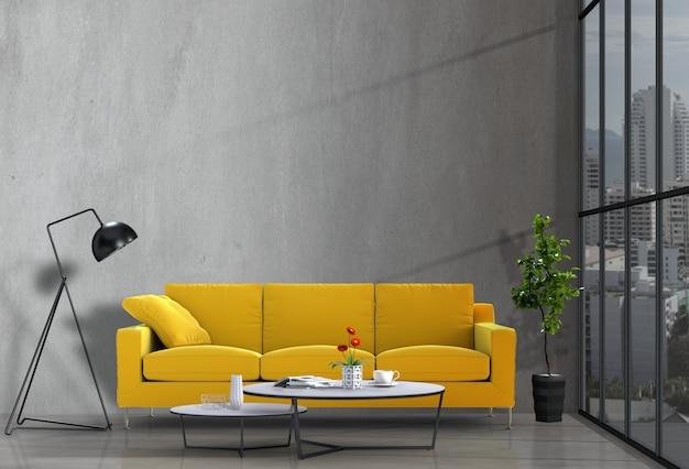 Wnętrze nowoczesny salon z sofą