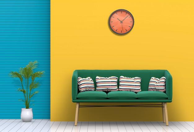Wnętrze pastelowego salonu z sofą. renderowania 3d