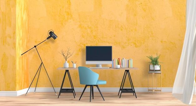 Wnętrze pokoju renderowania 3d z komputerem stacjonarnym