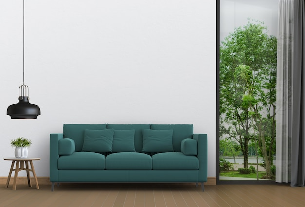 Wnętrze salonu i krajobrazu parku. renderowanie 3d