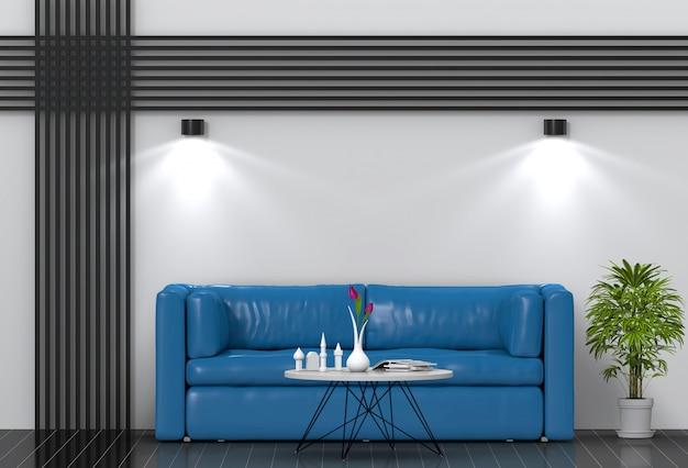 Wnętrze salonu oświetlenie z sofą. renderowania 3d
