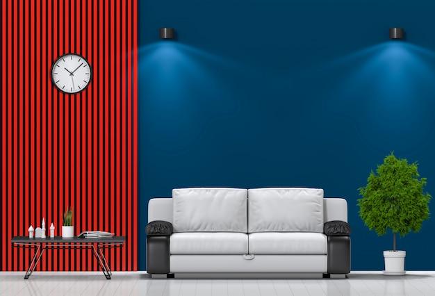 Wnętrze salonu oświetlenie z sofą.